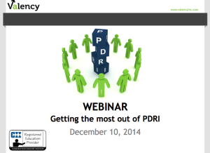 Webinar - Getting the most out of PDRI